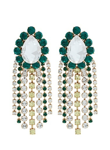 Ninon Ninon Mrs. Burton Emerald Kristal Küpe Yeşil